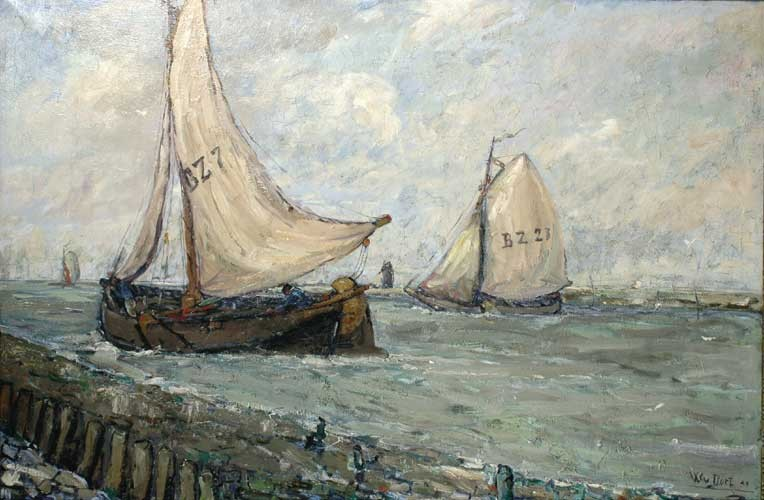 Two fishing boats in the harbour of Bergen op Zoom by Willem van Dort Sr.